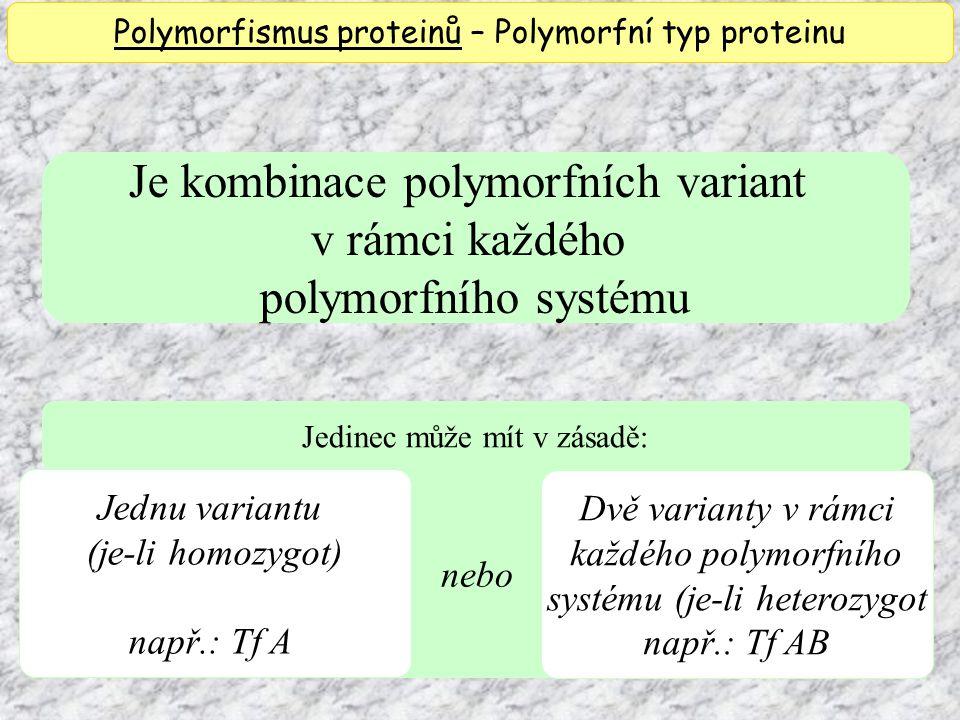 nebo Je kombinace polymorfních variant v rámci každého polymorfního systému Jednu variantu (je-li homozygot) např.: Tf A Polymorfismus proteinů – Polymorfní typ proteinu Dvě varianty v rámci každého polymorfního systému (je-li heterozygot např.: Tf AB Jedinec může mít v zásadě:
