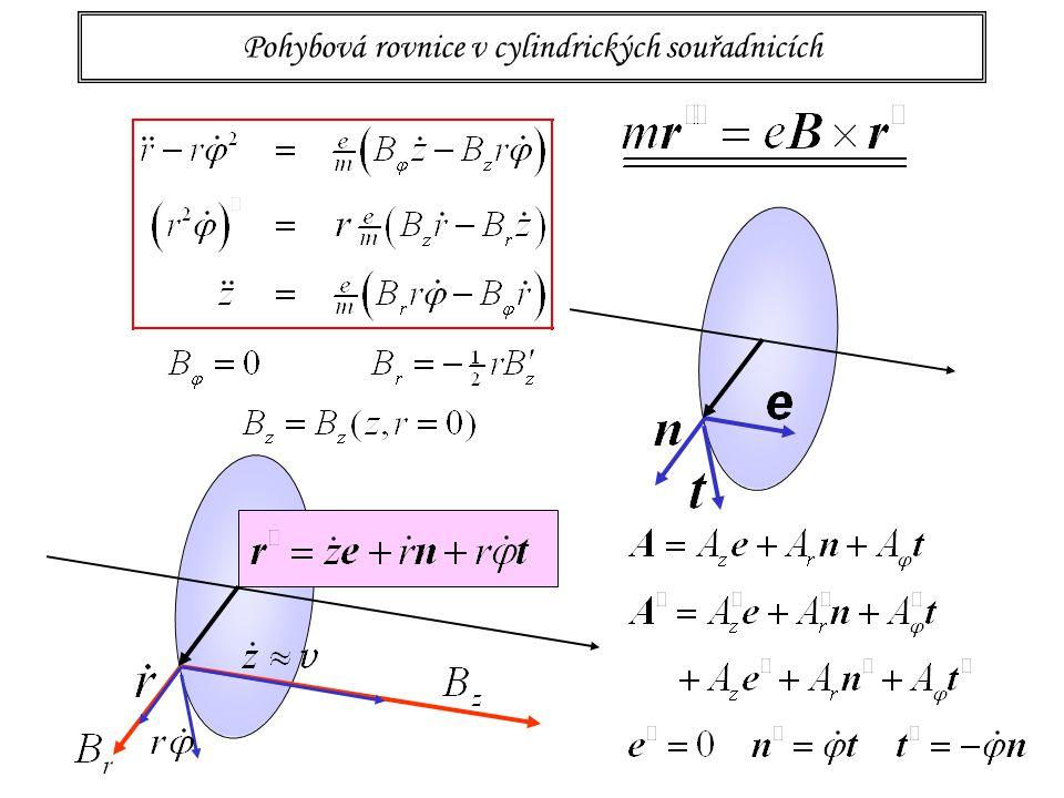18 Magnetická čočka: fýsledné rovnice paprsku paprsek v paraxiální oblasti rovina pohybu se otáčí nezávisle na průvodiči r podélná rychlost je stálá to ovlivní radiální pohyb PARAXIÁLNÍ ROVNICE PAPRSKU