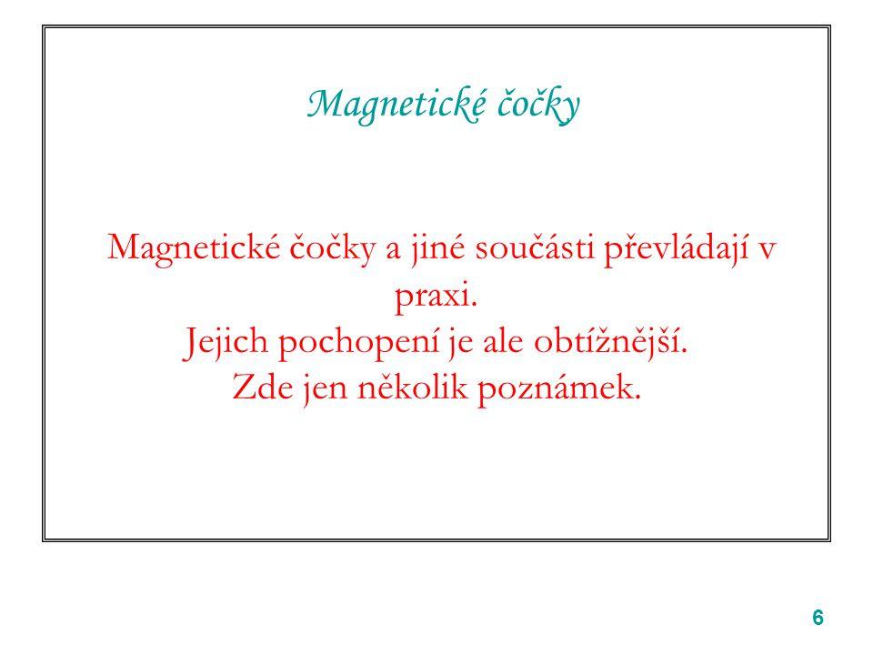 6 Magnetické čočky Magnetické čočky a jiné součásti převládají v praxi.