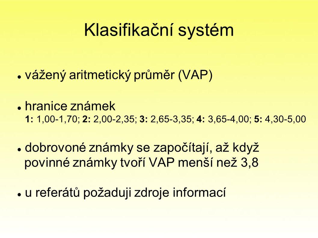 Klasifikační systém vážený aritmetický průměr (VAP) hranice známek 1: 1,00-1,70; 2: 2,00-2,35; 3: 2,65-3,35; 4: 3,65-4,00; 5: 4,30-5,00 dobrovoné známky se započítají, až když povinné známky tvoří VAP menší než 3,8 u referátů požaduji zdroje informací