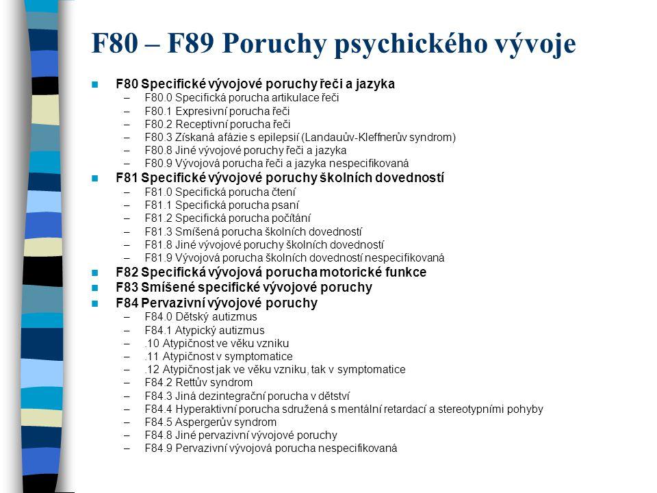F80 – F89 Poruchy psychického vývoje F80 Specifické vývojové poruchy řeči a jazyka –F80.0 Specifická porucha artikulace řeči –F80.1 Expresivní porucha