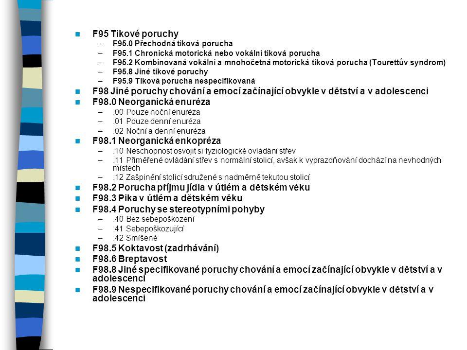 F95 Tikové poruchy –F95.0 Přechodná tiková porucha –F95.1 Chronická motorická nebo vokální tiková porucha –F95.2 Kombinovaná vokální a mnohočetná moto