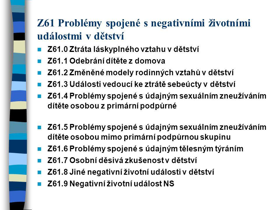 Z61 Problémy spojené s negativními životními událostmi v dětství Z61.0 Ztráta láskyplného vztahu v dětství Z61.1 Odebrání dítěte z domova Z61.2 Změněn
