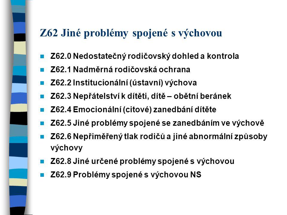 Z62 Jiné problémy spojené s výchovou Z62.0 Nedostatečný rodičovský dohled a kontrola Z62.1 Nadměrná rodičovská ochrana Z62.2 Institucionální (ústavní)