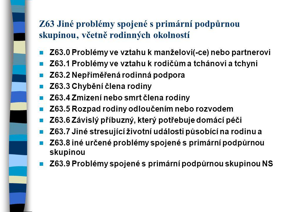Z63 Jiné problémy spojené s primární podpůrnou skupinou' včetně rodinných okolností Z63.0 Problémy ve vztahu k manželovi(-ce) nebo partnerovi Z63.1 Pr