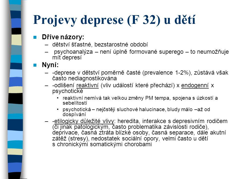 Projevy deprese (F 32) u dětí Dříve názory: –dětství šťastné, bezstarostné období – psychoanalýza – není úplně formované superego – to neumožňuje mít