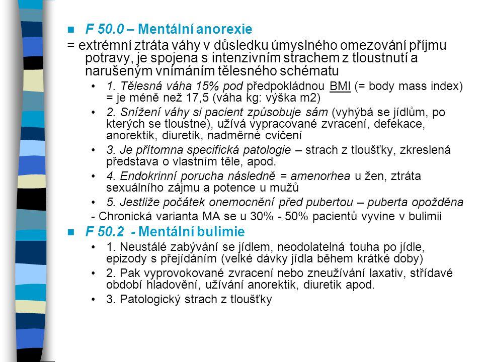 F 50.0 – Mentální anorexie = extrémní ztráta váhy v důsledku úmyslného omezování příjmu potravy, je spojena s intenzivním strachem z tloustnutí a naru