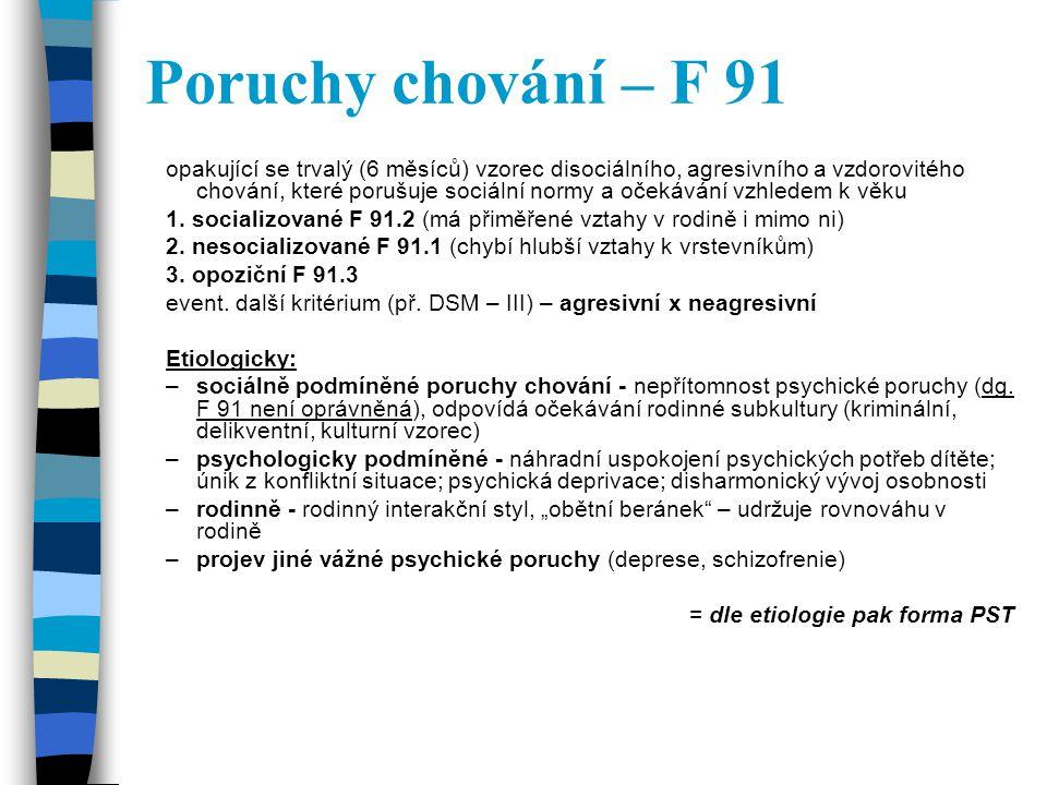 Poruchy chování – F 91 opakující se trvalý (6 měsíců) vzorec disociálního, agresivního a vzdorovitého chování, které porušuje sociální normy a očekává