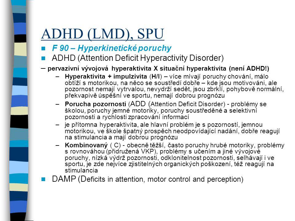ADHD (LMD), SPU F 90 – Hyperkinetické poruchy ADHD (Attention Deficit Hyperactivity Disorder) – pervazivní vývojová hyperaktivita X situační hyperakti