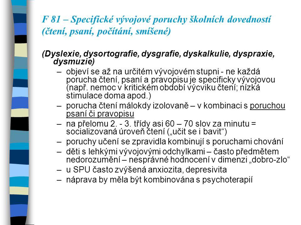 F 81 – Specifické vývojové poruchy školních dovedností (čtení, psaní, počítání, smíšené) (Dyslexie, dysortografie, dysgrafie, dyskalkulie, dyspraxie,