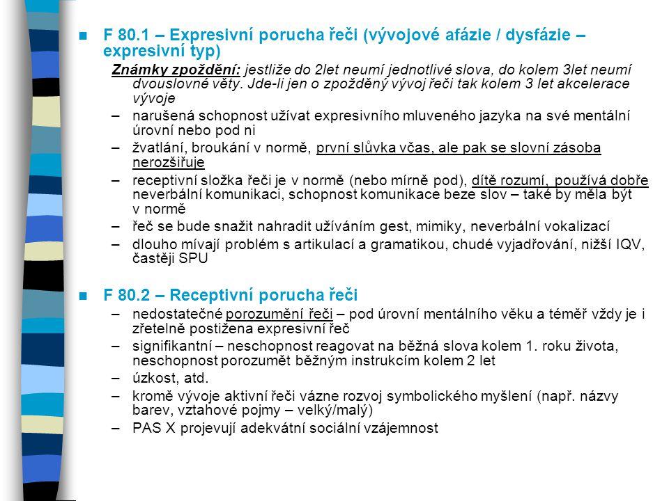 F 80.1 – Expresivní porucha řeči (vývojové afázie / dysfázie – expresivní typ) Známky zpoždění: jestliže do 2let neumí jednotlivé slova, do kolem 3let