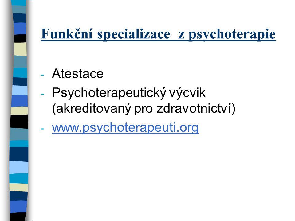 Funkční specializace z psychoterapie - Atestace - Psychoterapeutický výcvik (akreditovaný pro zdravotnictví) - www.psychoterapeuti.org