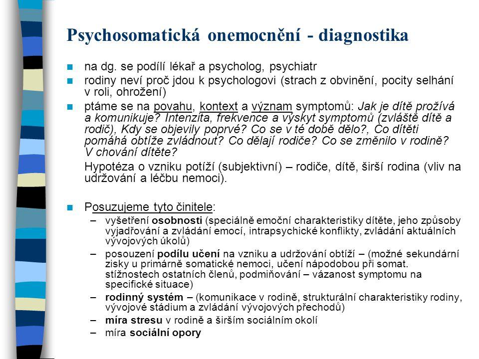 Psychosomatická onemocnění - diagnostika na dg. se podílí lékař a psycholog, psychiatr rodiny neví proč jdou k psychologovi (strach z obvinění, pocity