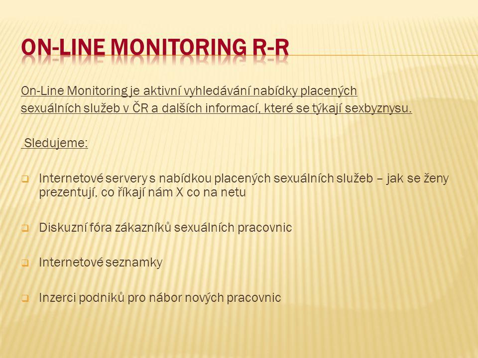 On-Line Monitoring je aktivní vyhledávání nabídky placených sexuálních služeb v ČR a dalších informací, které se týkají sexbyznysu.