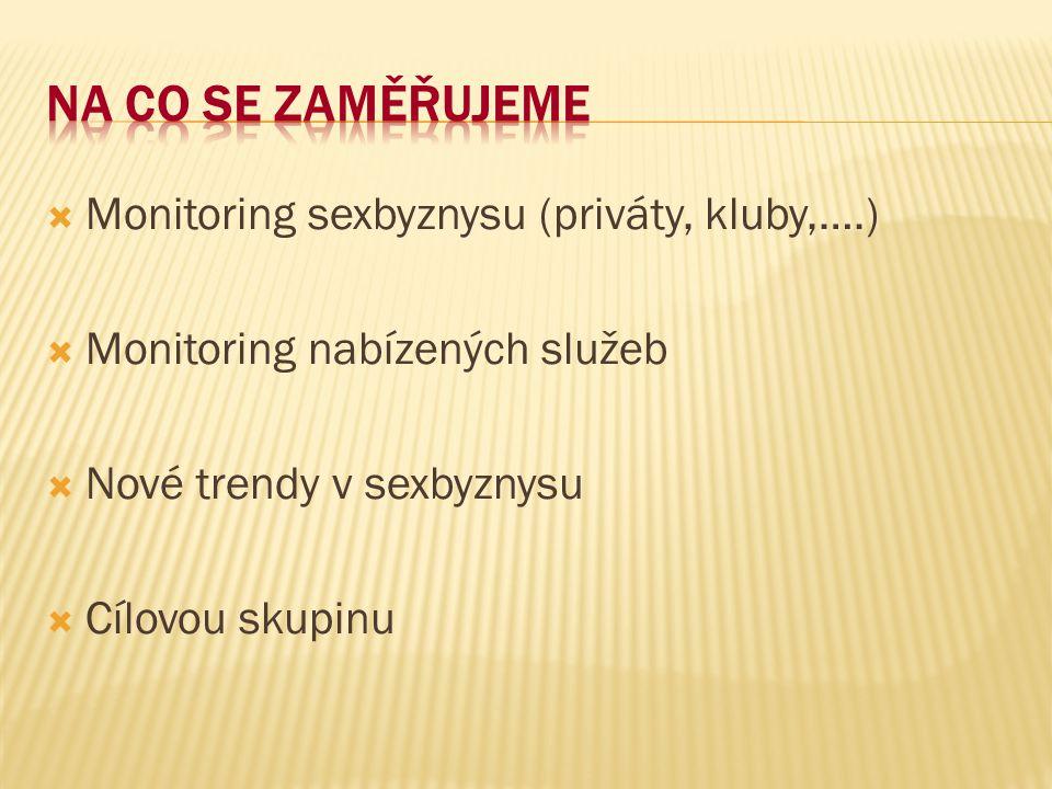  Monitoring sexbyznysu (priváty, kluby,….)  Monitoring nabízených služeb  Nové trendy v sexbyznysu  Cílovou skupinu