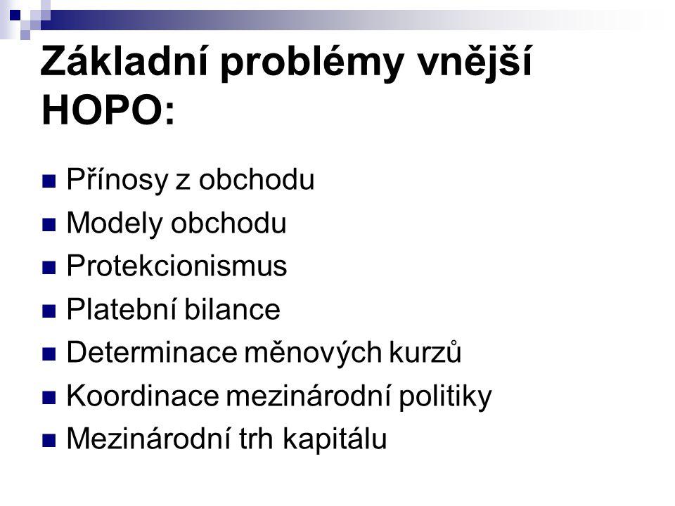 Základní problémy vnější HOPO: Přínosy z obchodu Modely obchodu Protekcionismus Platební bilance Determinace měnových kurzů Koordinace mezinárodní pol