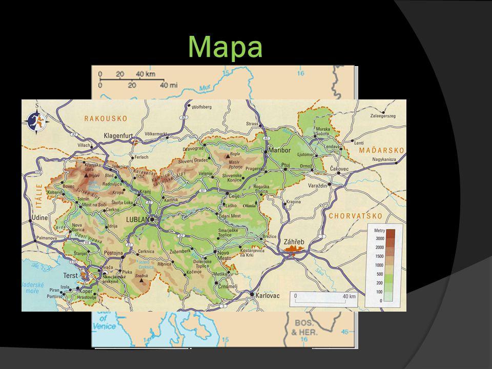 Informace  Hlavní město: Lublaň  Vstup do EU v roce 2004  Rozloha: 20 273 km²  2 000 000 obyvatel  Schengenský prostor : 2007  Nejvyšší bod: Triglav (2 864 m)  Jadranské moře (0 m)  Státní zřízení: republika  Prezident: Janez DRNOVSEK  Forma vlády: parlamentní