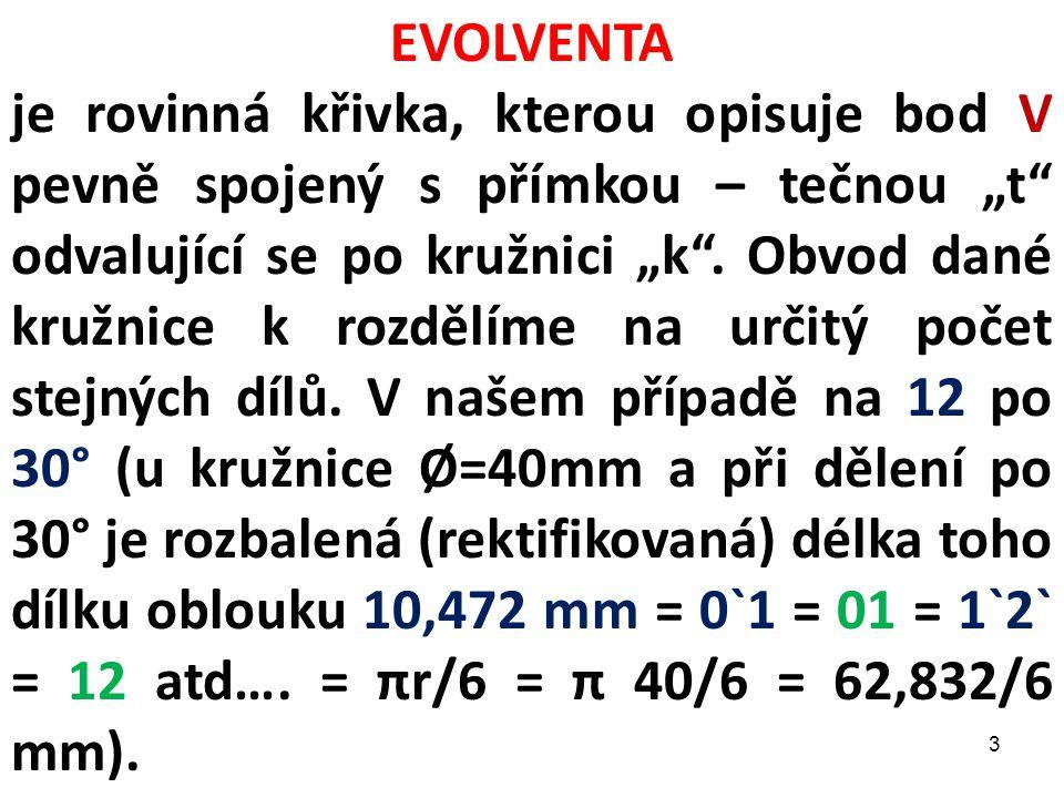 """EVOLVENTA je rovinná křivka, kterou opisuje bod V pevně spojený s přímkou – tečnou """"t"""" odvalující se po kružnici """"k"""". Obvod dané kružnice k rozdělíme"""