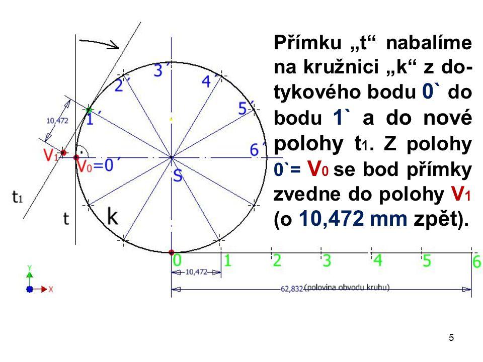 """Přímku """"t"""" nabalíme na kružnici """"k"""" z do- tykového bodu 0` do bodu 1` a do nové polohy t 1. Z polohy 0`= V 0 se bod přímky zvedne do polohy V 1 (o 10,"""