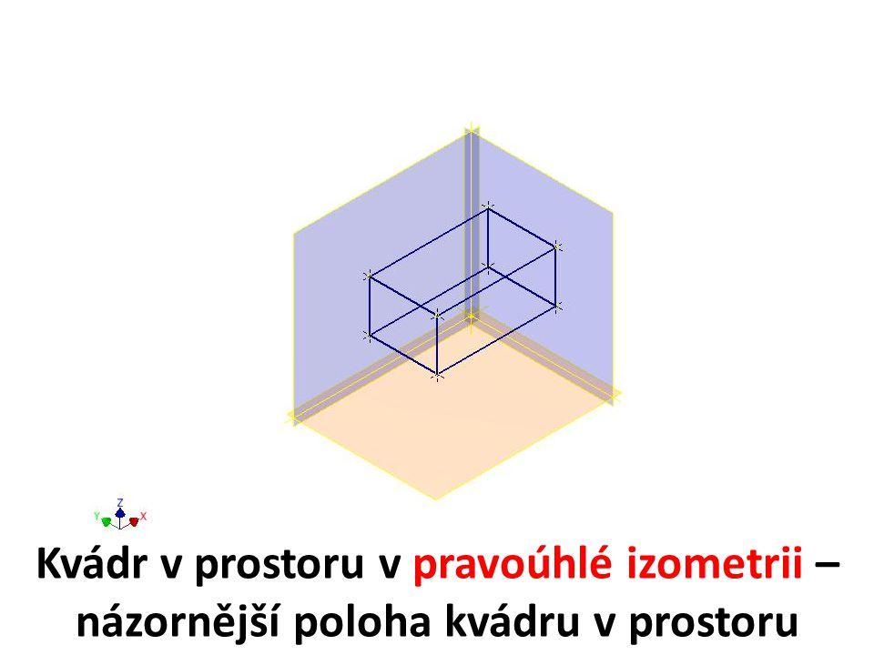 Kvádr v prostoru v pravoúhlé izometrii – názornější poloha kvádru v prostoru