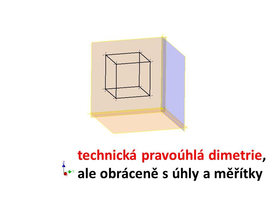 technická pravoúhlá dimetrie, ale obráceně s úhly a měřítky