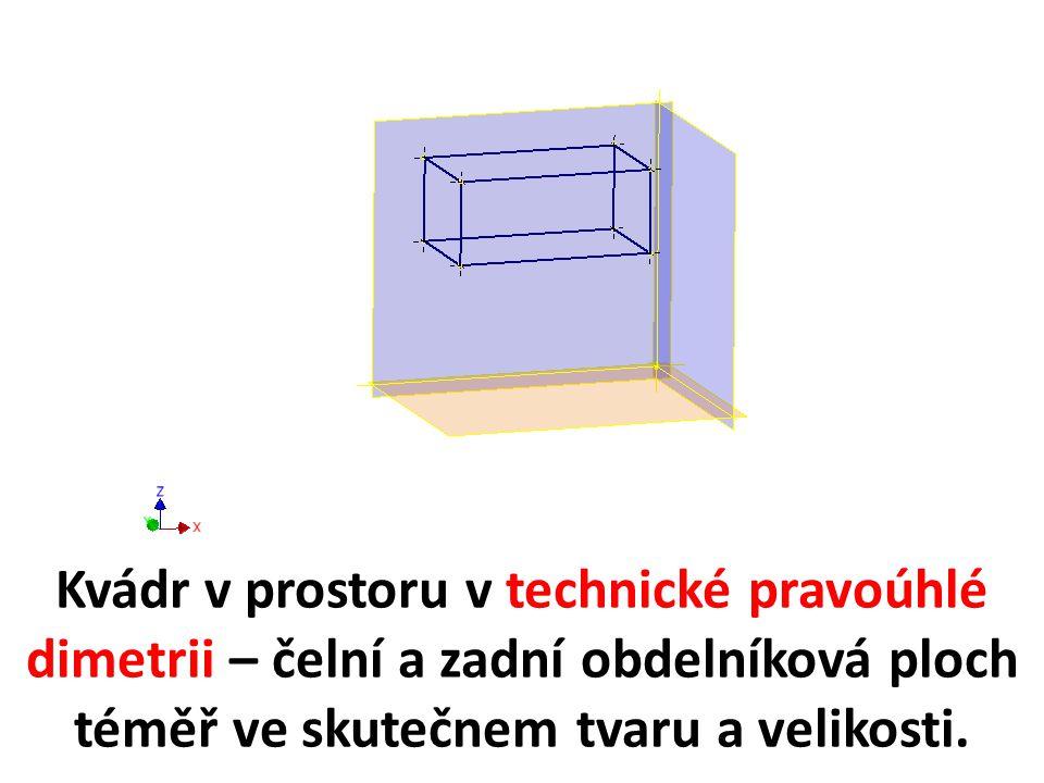 Kvádr v prostoru v technické pravoúhlé dimetrii – čelní a zadní obdelníková ploch téměř ve skutečnem tvaru a velikosti.