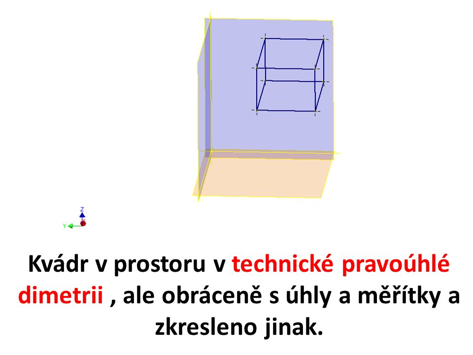 Kvádr v prostoru v technické pravoúhlé dimetrii, ale obráceně s úhly a měřítky a zkresleno jinak.