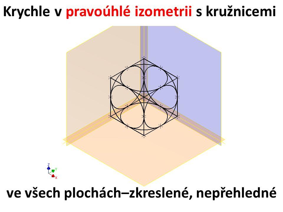 Krychle v pravoúhlé izometrii s kružnicemi ve všech plochách–zkreslené, nepřehledné