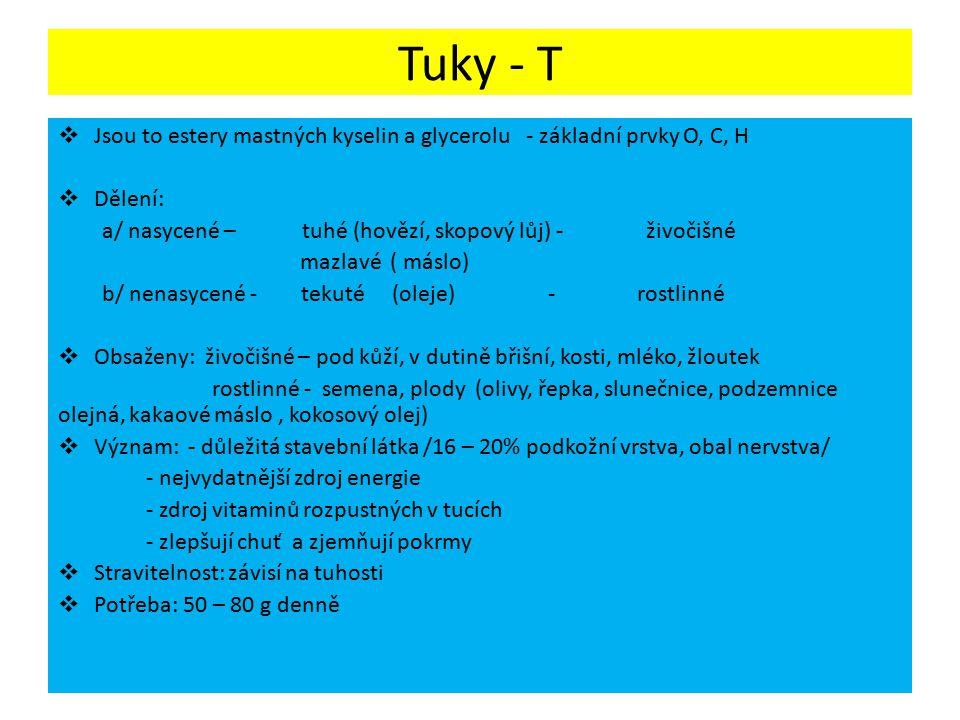 Tuky - T  Jsou to estery mastných kyselin a glycerolu - základní prvky O, C, H  Dělení: a/ nasycené – tuhé (hovězí, skopový lůj) - živočišné mazlavé ( máslo) b/ nenasycené - tekuté (oleje) - rostlinné  Obsaženy: živočišné – pod kůží, v dutině břišní, kosti, mléko, žloutek rostlinné - semena, plody (olivy, řepka, slunečnice, podzemnice olejná, kakaové máslo, kokosový olej)  Význam: - důležitá stavební látka /16 – 20% podkožní vrstva, obal nervstva/ - nejvydatnější zdroj energie - zdroj vitaminů rozpustných v tucích - zlepšují chuť a zjemňují pokrmy  Stravitelnost: závisí na tuhosti  Potřeba: 50 – 80 g denně