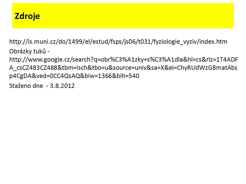 Zdroje http://is.muni.cz/do/1499/el/estud/fsps/js06/t031/fyziologie_vyziv/index.htm Obrázky tuků - http://www.google.cz/search q=obr%C3%A1zky+s%C3%A1dla&hl=cs&rlz=1T4ADF A_csCZ483CZ488&tbm=isch&tbo=u&source=univ&sa=X&ei=ChyRUdWzG8matAbs p4CgDA&ved=0CC4QsAQ&biw=1366&bih=540 Staženo dne - 3.8.2012