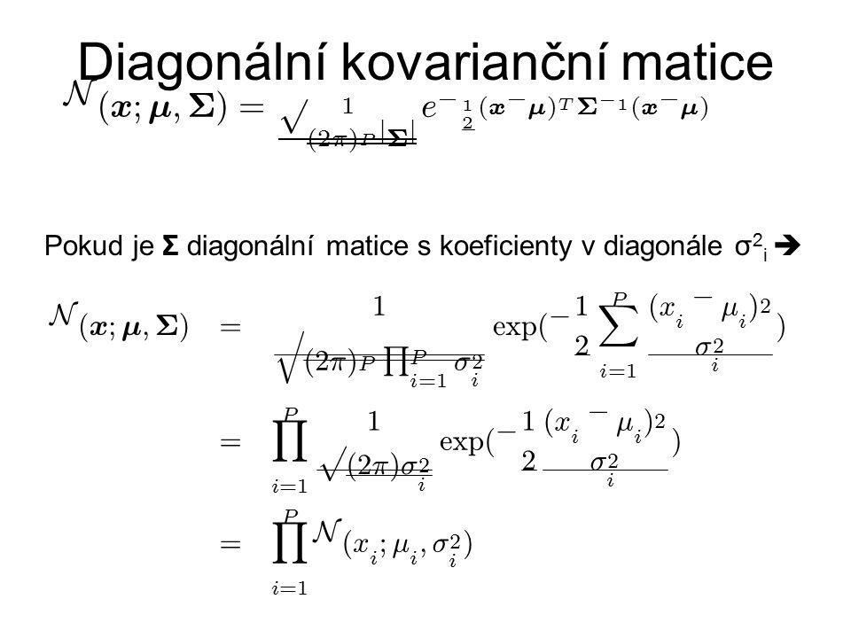 Diagonální kovarianční matice Pokud je Σ diagonální matice s koeficienty v diagonále σ 2 i  N ( x ; ¹ ; § ) = 1 p ( 2 ¼ ) P j § j e ¡ 1 2 ( x ¡ ¹ ) T