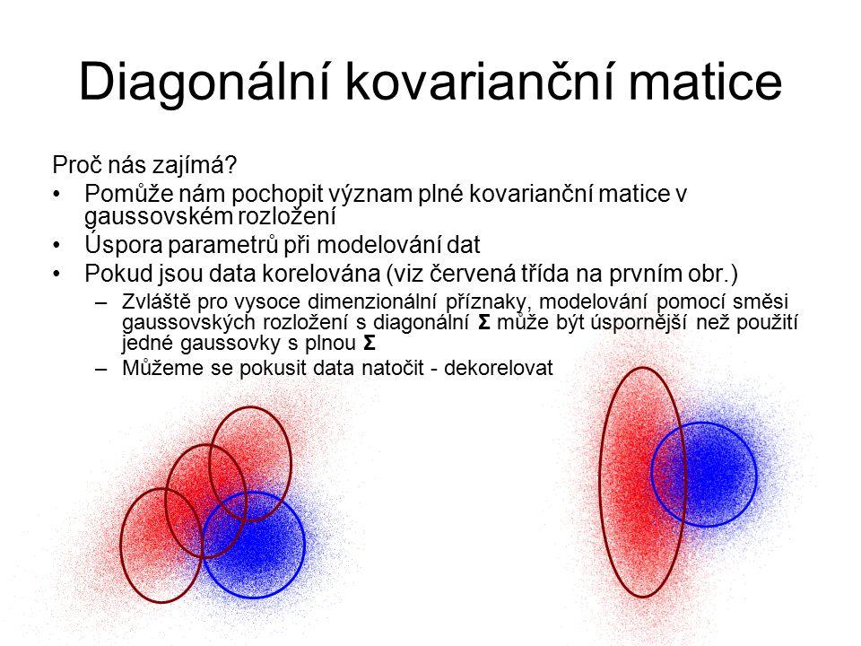 Diagonální kovarianční matice Proč nás zajímá? Pomůže nám pochopit význam plné kovarianční matice v gaussovském rozložení Úspora parametrů při modelov