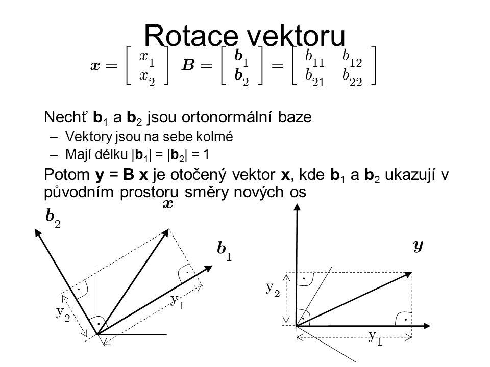 Rotace vektoru Nechť b 1 a b 2 jsou ortonormální baze –Vektory jsou na sebe kolmé –Mají délku |b 1 | = |b 2 | = 1 Potom y = B x je otočený vektor x, k