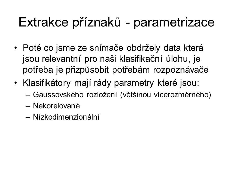 Extrakce příznaků - parametrizace Poté co jsme ze snímače obdržely data která jsou relevantní pro naši klasifikační úlohu, je potřeba je přizpůsobit p