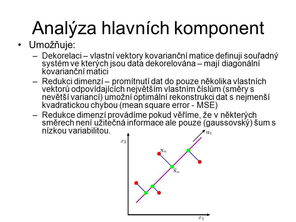 Analýza hlavních komponent Umožňuje: –Dekorelaci – vlastní vektory kovarianční matice definuji souřadný systém ve kterých jsou data dekorelována – maj