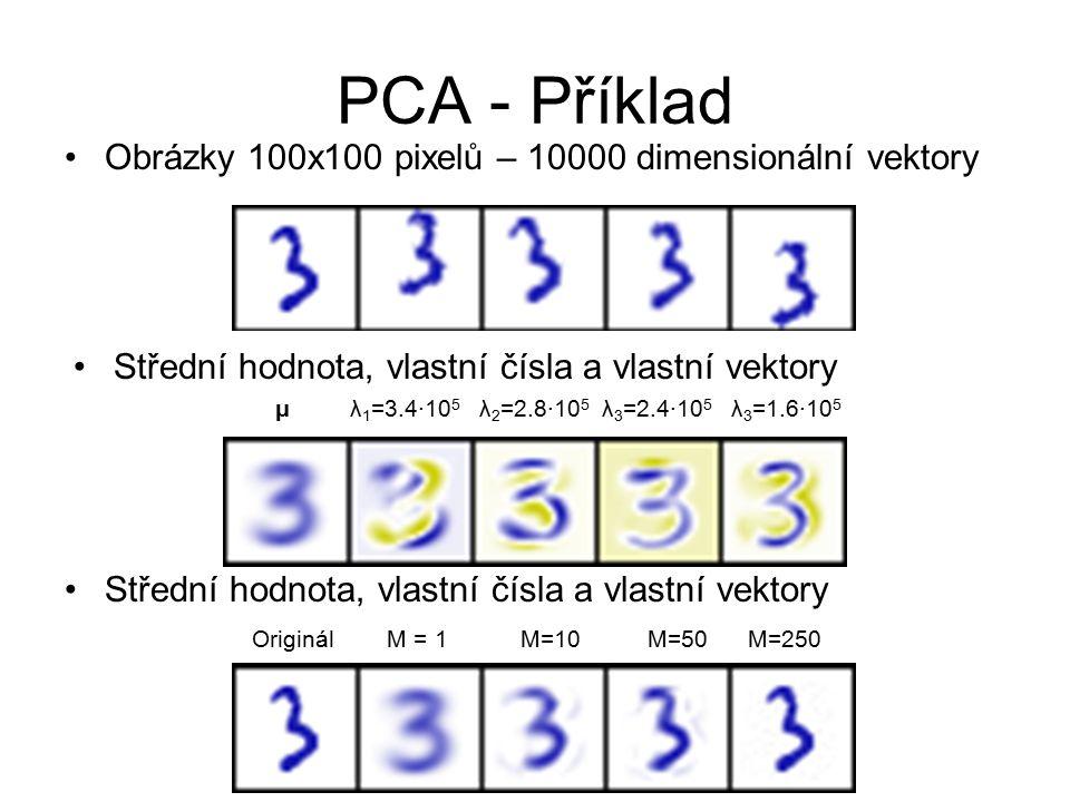 PCA - Příklad Obrázky 100x100 pixelů – 10000 dimensionální vektory μ λ 1 =3.4∙10 5 λ 2 =2.8∙10 5 λ 3 =2.4∙10 5 λ 3 =1.6∙10 5 Střední hodnota, vlastní