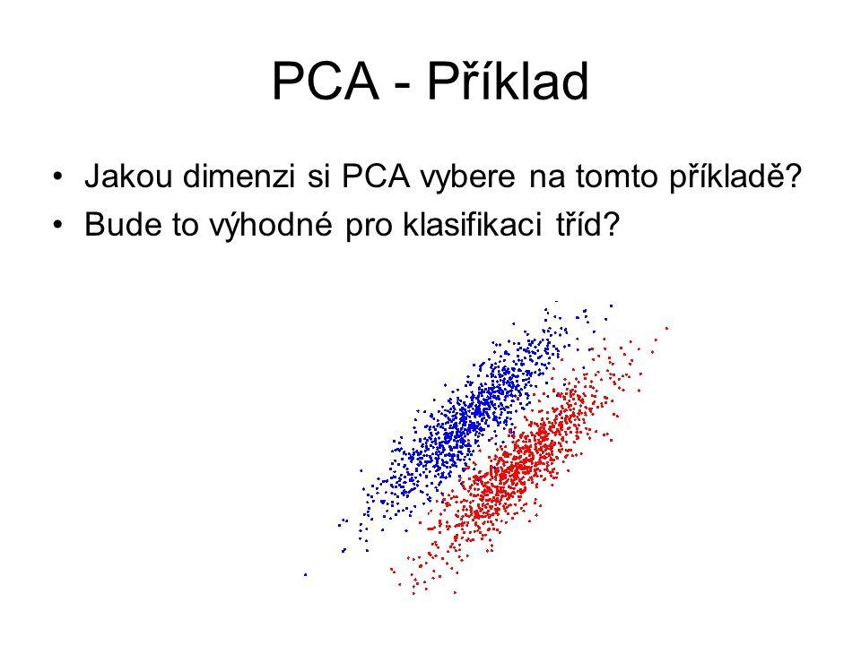 PCA - Příklad Jakou dimenzi si PCA vybere na tomto příkladě? Bude to výhodné pro klasifikaci tříd?