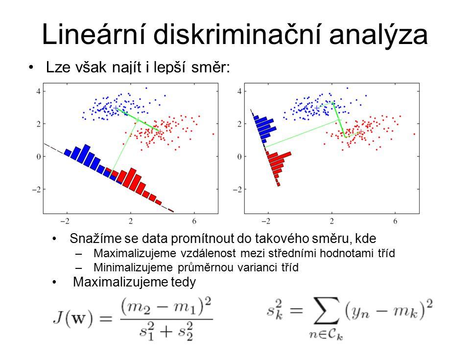 Lze však najít i lepší směr: Lineární diskriminační analýza Snažíme se data promítnout do takového směru, kde – Maximalizujeme vzdálenost mezi střední
