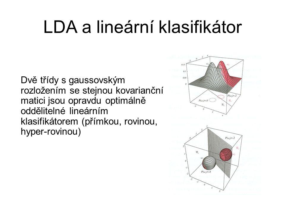 LDA a lineární klasifikátor Dvě třídy s gaussovským rozložením se stejnou kovarianční matici jsou opravdu optimálně oddělitelné lineárním klasifikátor