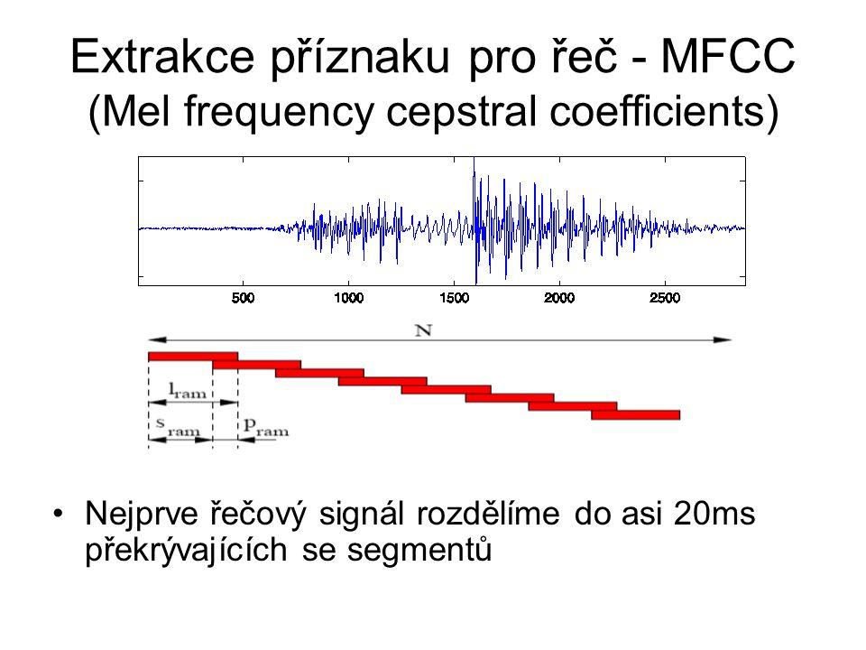 Extrakce příznaku pro řeč - MFCC (Mel frequency cepstral coefficients) Nejprve řečový signál rozdělíme do asi 20ms překrývajících se segmentů