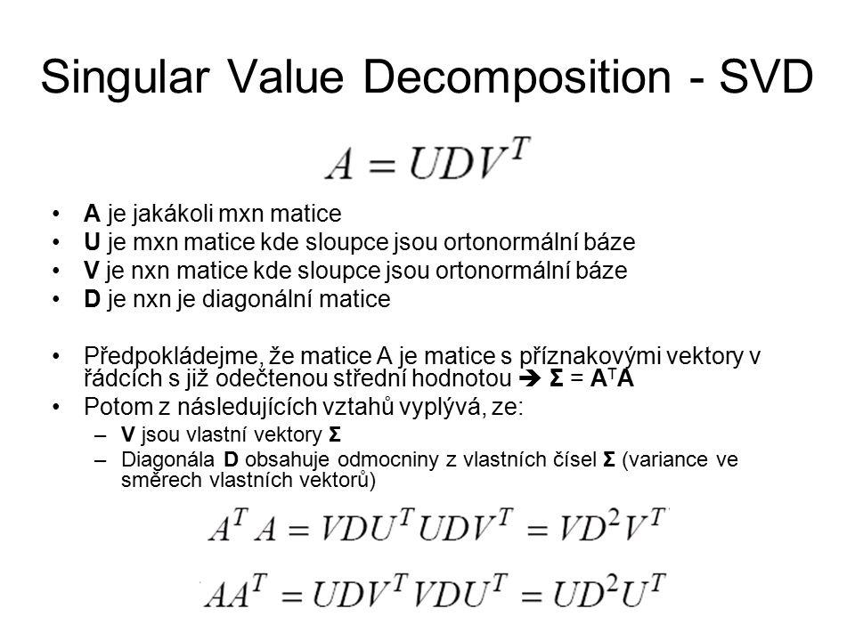Singular Value Decomposition - SVD A je jakákoli mxn matice U je mxn matice kde sloupce jsou ortonormální báze V je nxn matice kde sloupce jsou ortono