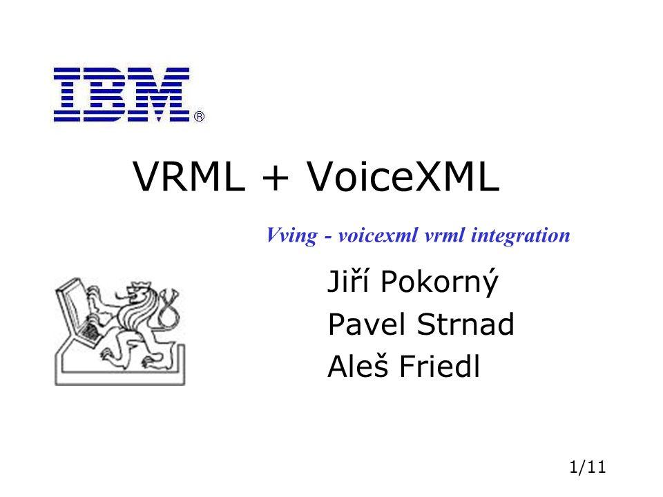 2/11 Zadání Rozšiřte vhodný prohlížeč VRML o již existující řečový rozpoznávač a modul Text-To- Speech tak, aby bylo možno programovat jednoduché 3D multimodální aplikace ovládané řečí.