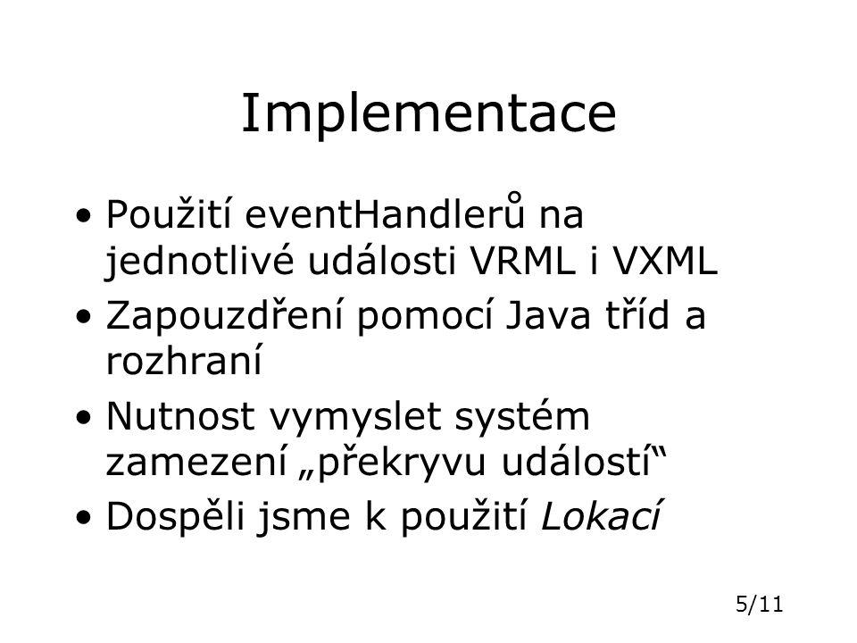 """5/11 Implementace Použití eventHandlerů na jednotlivé události VRML i VXML Zapouzdření pomocí Java tříd a rozhraní Nutnost vymyslet systém zamezení """"p"""