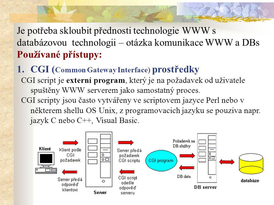 Je potřeba skloubit přednosti technologie WWW s databázovou technologii – otázka komunikace WWW a DBs Používané přístupy: 1.CGI ( Common Gateway Interface) prostředky CGI script je externí program, který je na požadavek od uživatele spuštěny WWW serverem jako samostatný proces.