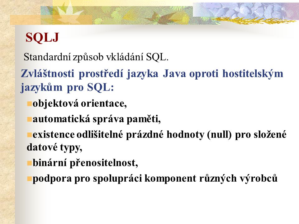 Standardní způsob vkládání SQL.
