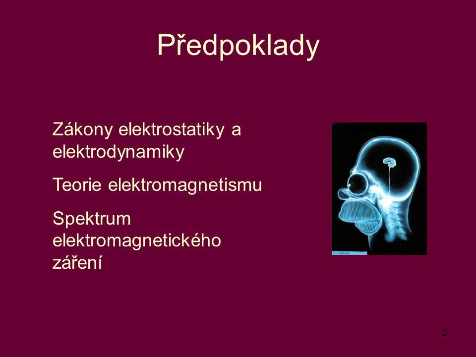 2 Předpoklady Zákony elektrostatiky a elektrodynamiky Teorie elektromagnetismu Spektrum elektromagnetického záření