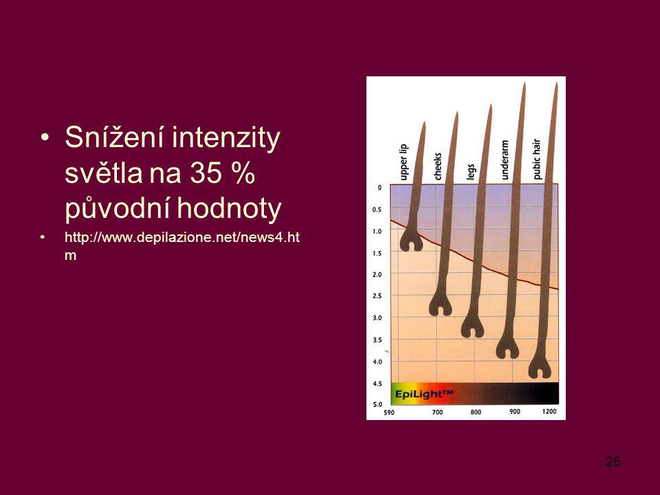 26 Snížení intenzity světla na 35 % původní hodnoty http://www.depilazione.net/news4.ht m