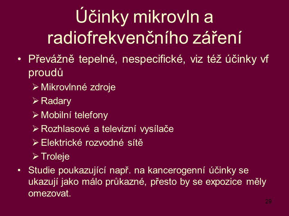 29 Účinky mikrovln a radiofrekvenčního záření Převážně tepelné, nespecifické, viz též účinky vf proudů  Mikrovlnné zdroje  Radary  Mobilní telefony  Rozhlasové a televizní vysílače  Elektrické rozvodné sítě  Troleje Studie poukazující např.