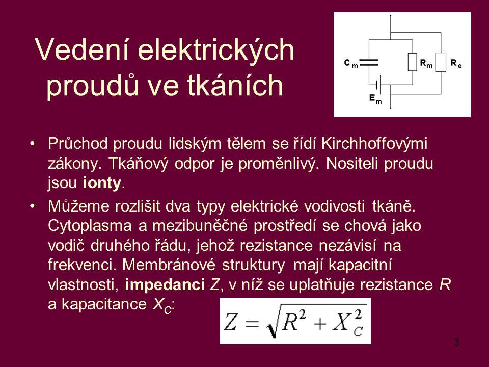3 Vedení elektrických proudů ve tkáních Průchod proudu lidským tělem se řídí Kirchhoffovými zákony. Tkáňový odpor je proměnlivý. Nositeli proudu jsou