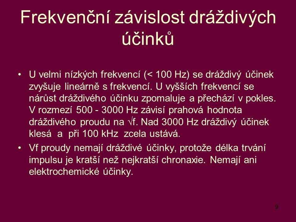 9 Frekvenční závislost dráždivých účinků U velmi nízkých frekvencí (< 100 Hz) se dráždivý účinek zvyšuje lineárně s frekvencí. U vyšších frekvencí se